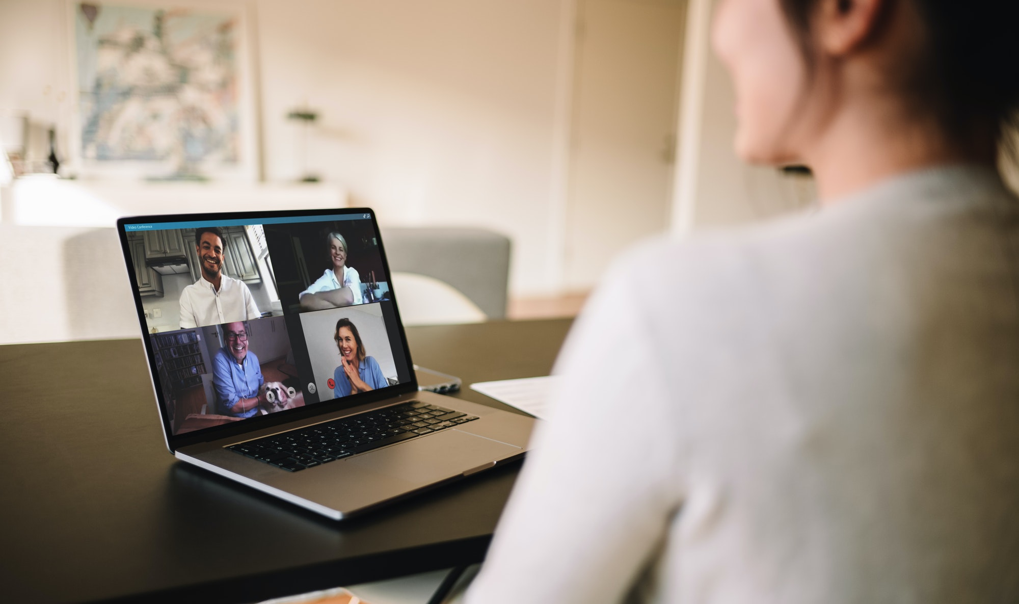 Family meeting online over a video call